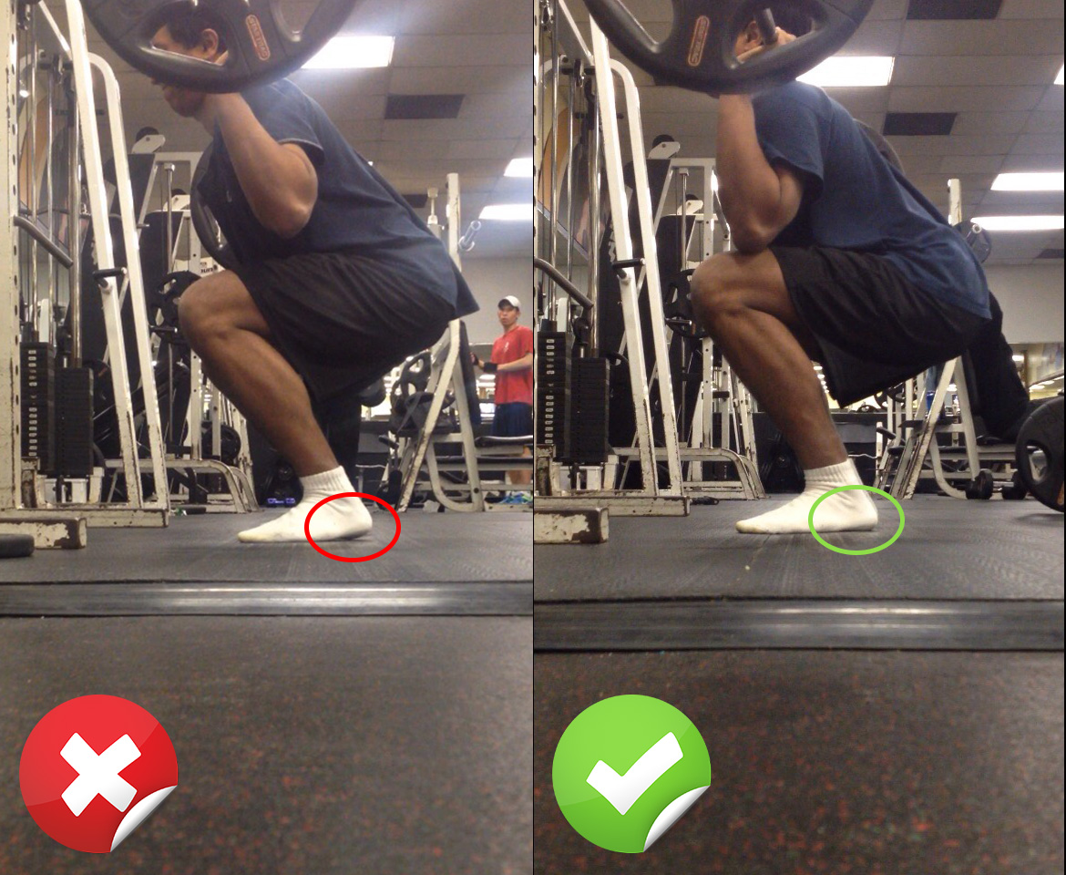 Squat form – heel, right and wrong